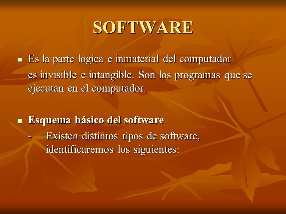 SOFTWARE Es la parte lógica e inmaterial del computador Es la parte lógica e inmaterial del computador es invisible e intangible. Son los programas qu