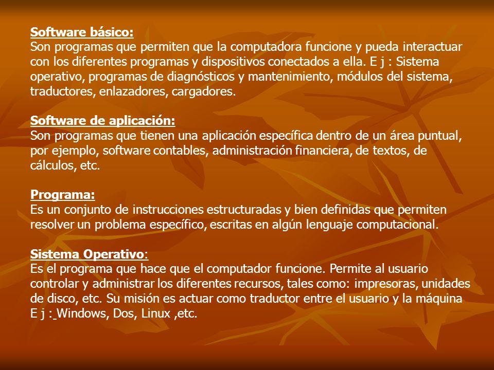 Software básico: Son programas que permiten que la computadora funcione y pueda interactuar con los diferentes programas y dispositivos conectados a e