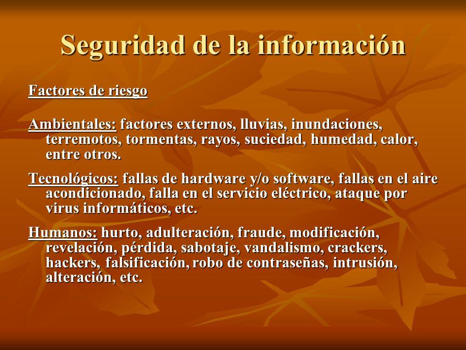 Seguridad de la información Factores de riesgo Ambientales: factores externos, lluvias, inundaciones, terremotos, tormentas, rayos, suciedad, humedad,