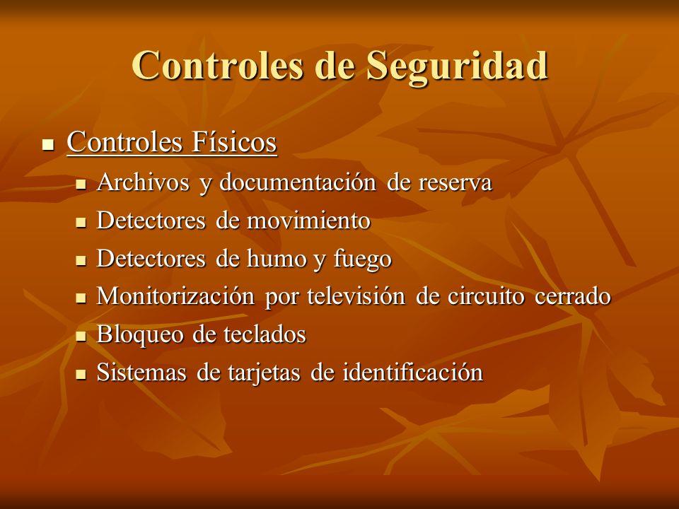 Controles de Seguridad Controles Físicos Controles Físicos Archivos y documentación de reserva Archivos y documentación de reserva Detectores de movim