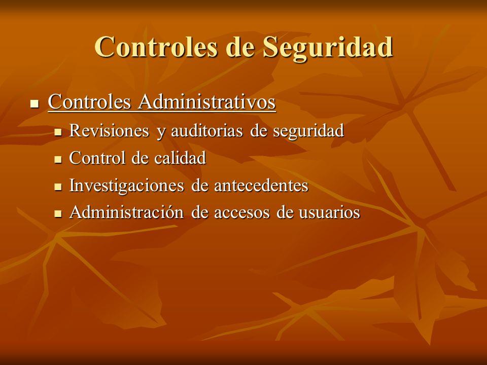 Controles de Seguridad Controles Administrativos Controles Administrativos Revisiones y auditorias de seguridad Revisiones y auditorias de seguridad C