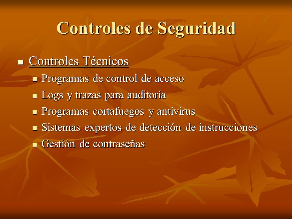 Controles de Seguridad Controles Técnicos Controles Técnicos Programas de control de acceso Programas de control de acceso Logs y trazas para auditorí