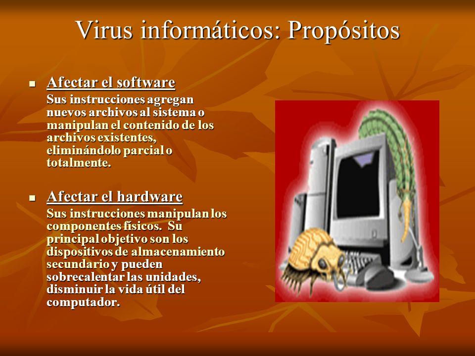 Virus informáticos: Propósitos Afectar el software Afectar el software Sus instrucciones agregan nuevos archivos al sistema o manipulan el contenido d