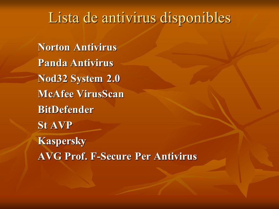 Lista de antivirus disponibles Norton Antivirus Panda Antivirus Nod32 System 2.0 McAfee VirusScan BitDefender St AVP Kaspersky AVG Prof. F-Secure Per
