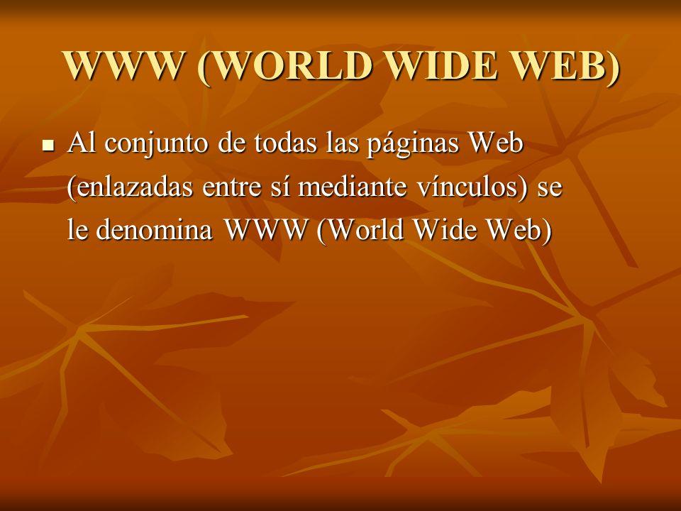WWW (WORLD WIDE WEB) Al conjunto de todas las páginas Web Al conjunto de todas las páginas Web (enlazadas entre sí mediante vínculos) se le denomina W