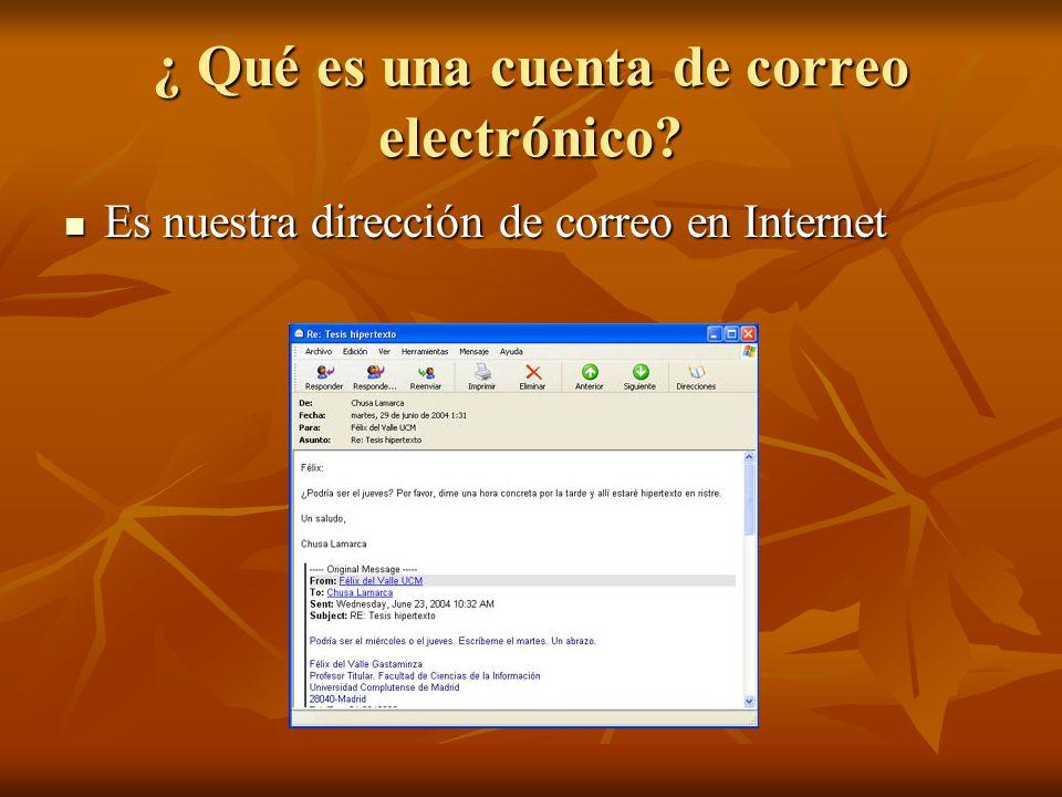 ¿ Qué es una cuenta de correo electrónico? Es nuestra dirección de correo en Internet Es nuestra dirección de correo en Internet