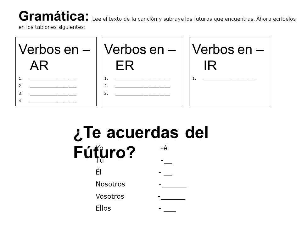 Gramática: Lee el texto de la canciòn y subraye los futuros que encuentras.