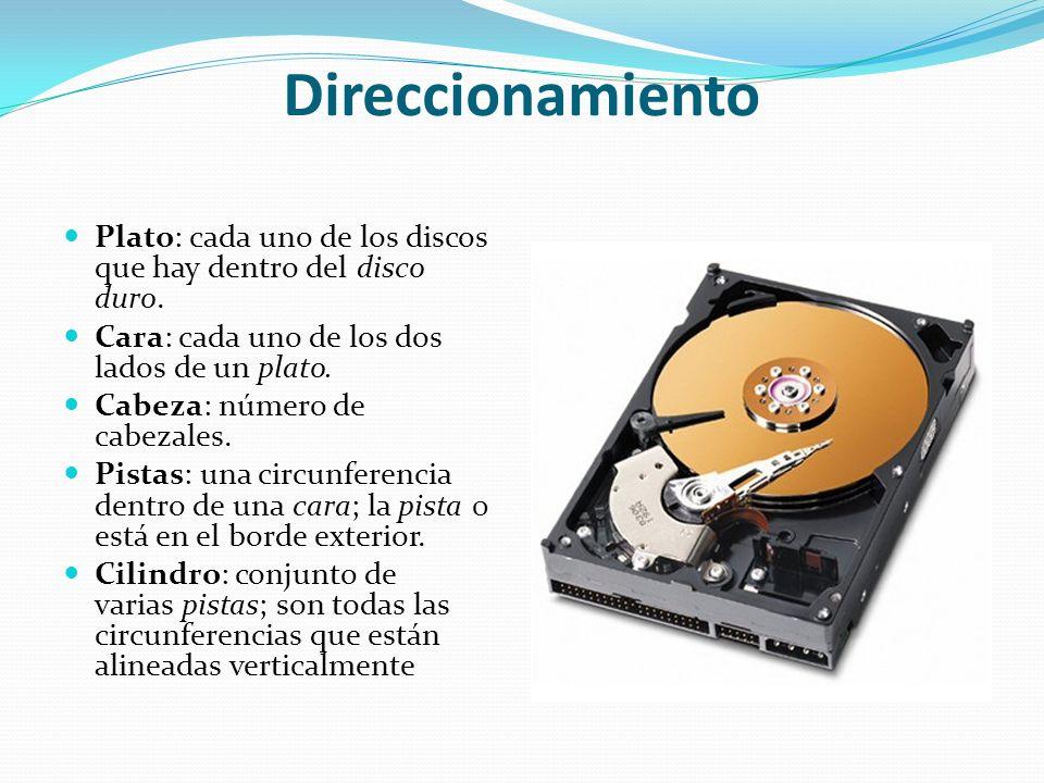 Direccionamiento Plato: cada uno de los discos que hay dentro del disco duro. Cara: cada uno de los dos lados de un plato. Cabeza: número de cabezales