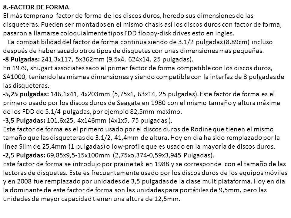 8.-FACTOR DE FORMA. El más temprano factor de forma de los discos duros, heredo sus dimensiones de las disqueteras. Pueden ser montados en el mismo ch