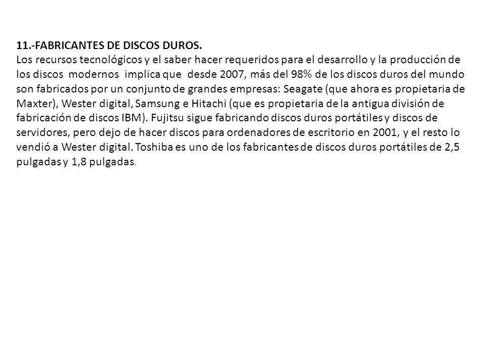 11.-FABRICANTES DE DISCOS DUROS. Los recursos tecnológicos y el saber hacer requeridos para el desarrollo y la producción de los discos modernos impli
