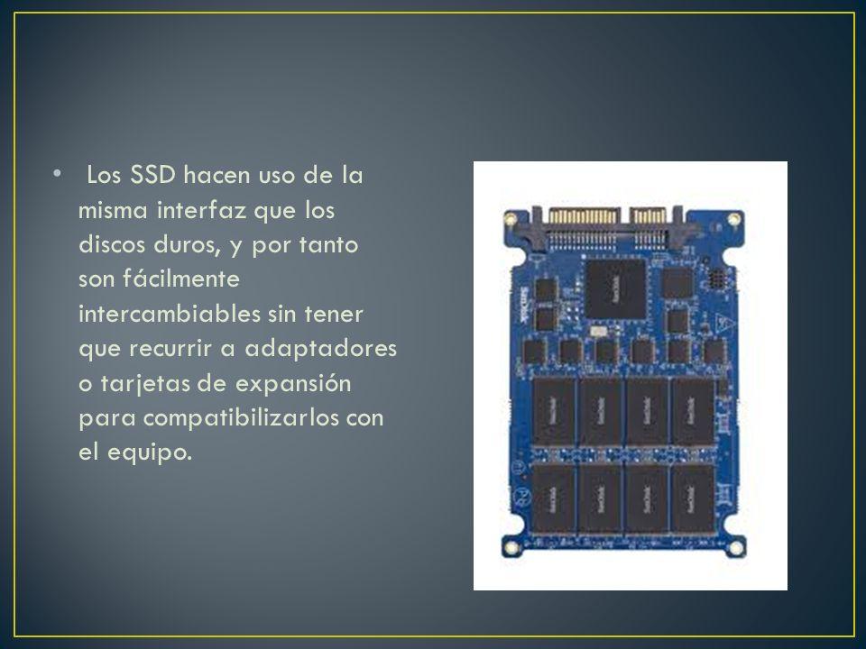 Los SSD hacen uso de la misma interfaz que los discos duros, y por tanto son fácilmente intercambiables sin tener que recurrir a adaptadores o tarjeta