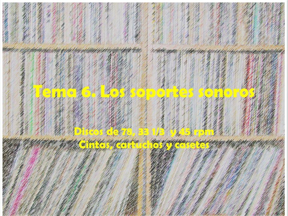 Tema 6. Los soportes sonoros Discos de 78, 33 1/3 y 45 rpm Cintas, cartuchos y casetes
