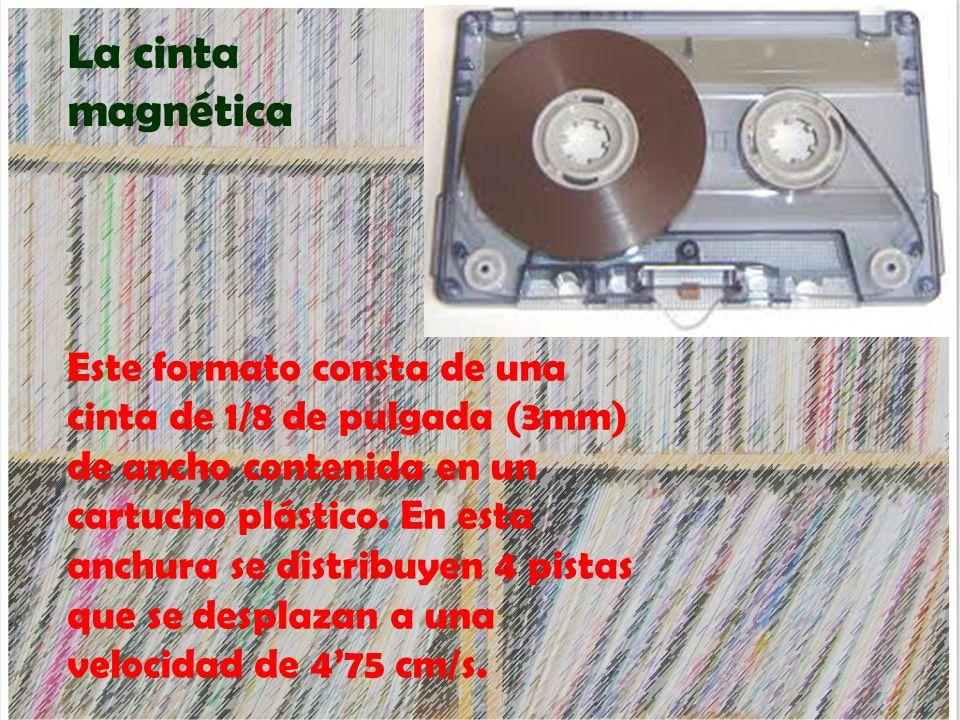 La cinta magnética Este formato consta de una cinta de 1/8 de pulgada (3mm) de ancho contenida en un cartucho plástico. En esta anchura se distribuyen