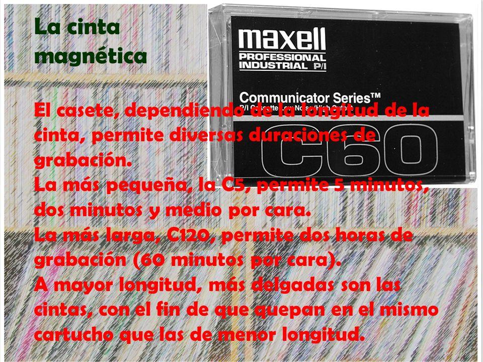 La cinta magnética El casete, dependiendo de la longitud de la cinta, permite diversas duraciones de grabación. La más pequeña, la C5, permite 5 minut
