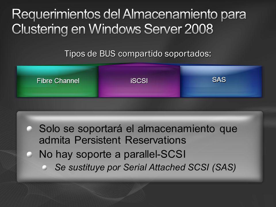 Solo se soportará el almacenamiento que admita Persistent Reservations No hay soporte a parallel-SCSI Se sustituye por Serial Attached SCSI (SAS) Fibre Channel Fibre ChanneliSCSI SAS Tipos de BUS compartido soportados: