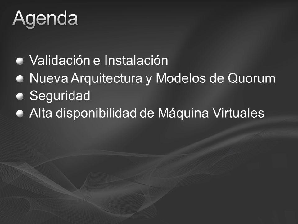 Validación e Instalación Nueva Arquitectura y Modelos de Quorum Seguridad Alta disponibilidad de Máquina Virtuales