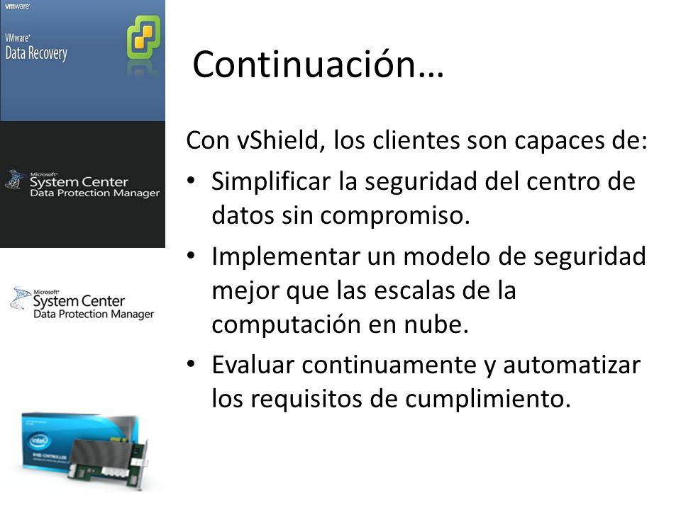 Continuación… Con vShield, los clientes son capaces de: Simplificar la seguridad del centro de datos sin compromiso.