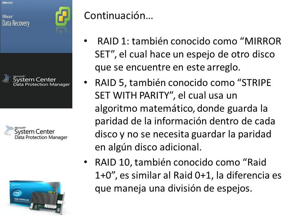 RAID 1: también conocido como MIRROR SET, el cual hace un espejo de otro disco que se encuentre en este arreglo.