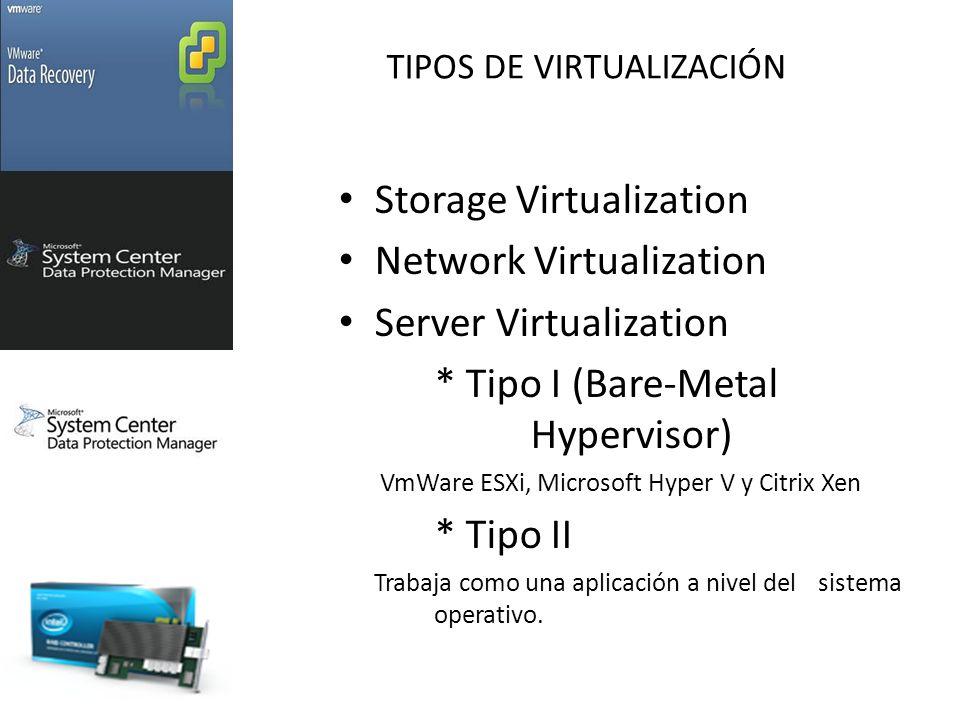 TIPOS DE VIRTUALIZACIÓN Storage Virtualization Network Virtualization Server Virtualization * Tipo I (Bare-Metal Hypervisor) VmWare ESXi, Microsoft Hyper V y Citrix Xen * Tipo II Trabaja como una aplicación a nivel del sistema operativo.