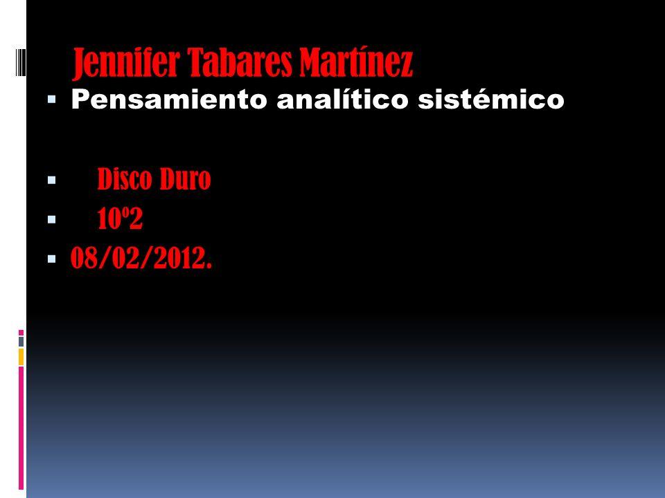 Jennifer Tabares Martínez Pensamiento analítico sistémico Disco Duro 10º2 08/02/2012.