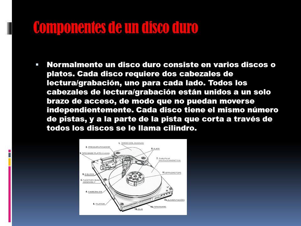 Componentes de un disco duro Normalmente un disco duro consiste en varios discos o platos. Cada disco requiere dos cabezales de lectura/grabación, uno