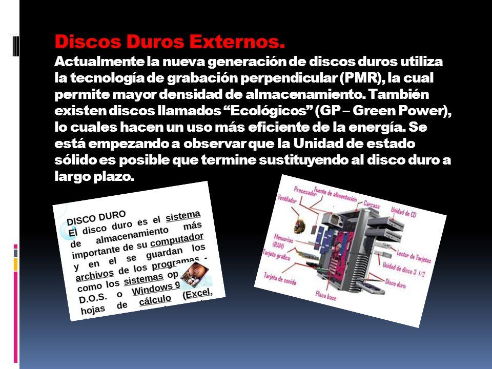 Discos Duros Externos. Actualmente la nueva generación de discos duros utiliza la tecnología de grabación perpendicular (PMR), la cual permite mayor d