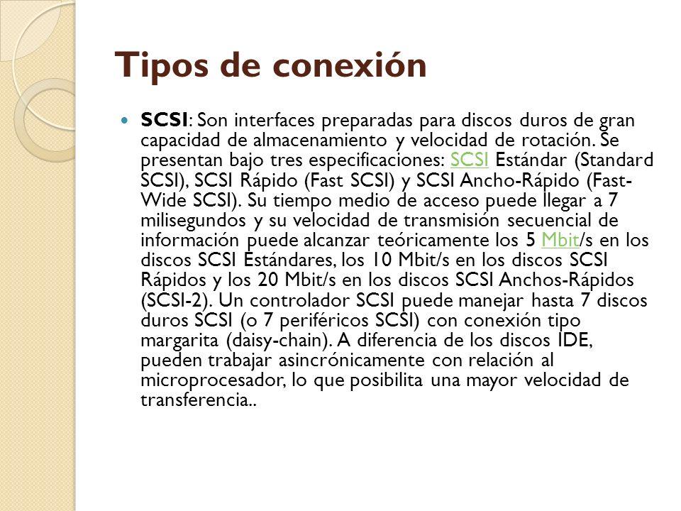 Tipos de conexión SCSI: Son interfaces preparadas para discos duros de gran capacidad de almacenamiento y velocidad de rotación. Se presentan bajo tre
