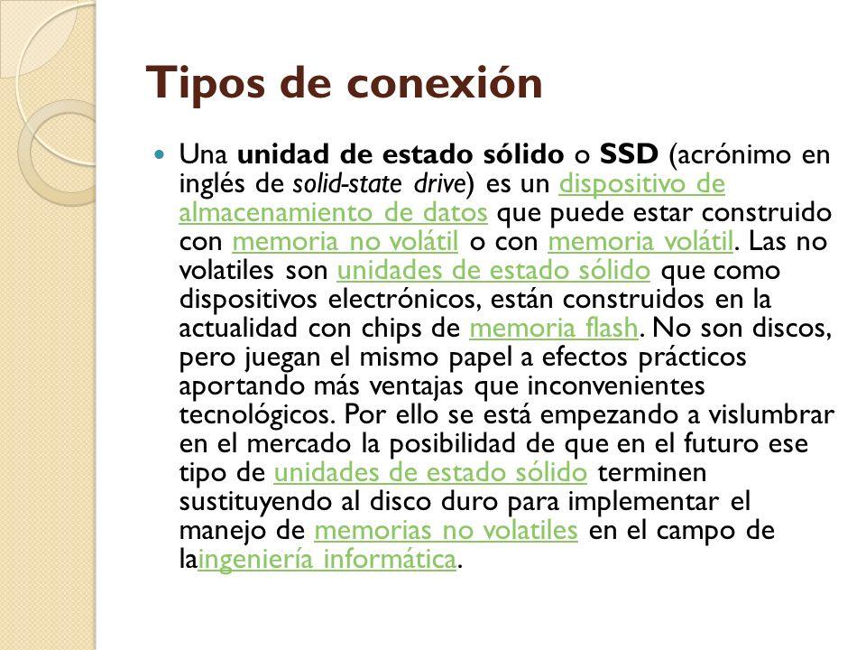 Tipos de conexión Una unidad de estado sólido o SSD (acrónimo en inglés de solid-state drive) es un dispositivo de almacenamiento de datos que puede e
