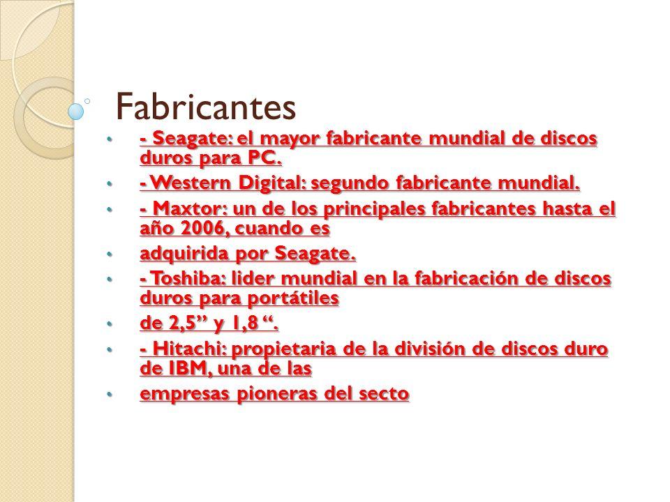 Fabricantes - Seagate: el mayor fabricante mundial de discos duros para PC. - Seagate: el mayor fabricante mundial de discos duros para PC. - Western