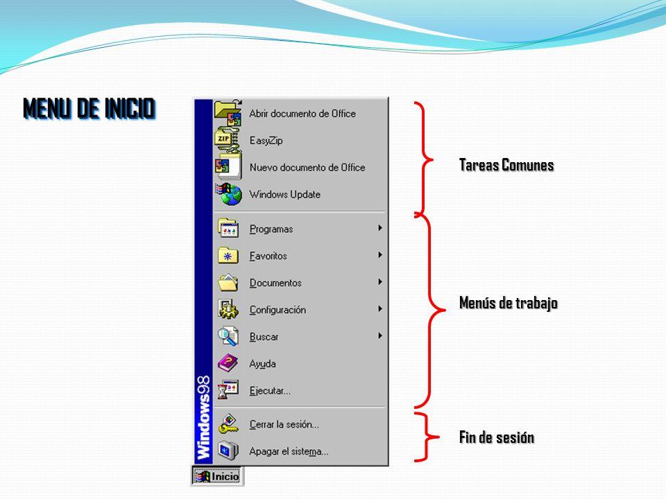 Botón de Inicio Inicio Rápido Barra de Estado Reloj LA BARRA DE TAREAS