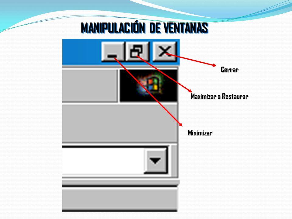 MANIPULACIÓN DE VENTANAS Permite mover las ventanas