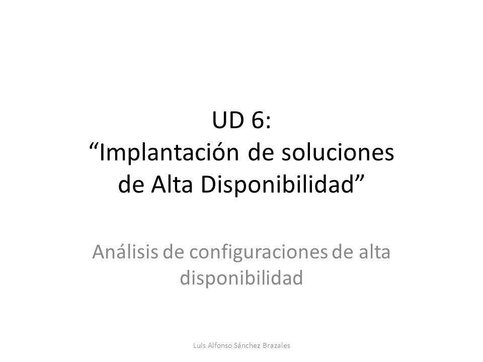 UD 6: Implantación de soluciones de Alta Disponibilidad Análisis de configuraciones de alta disponibilidad Luis Alfonso Sánchez Brazales
