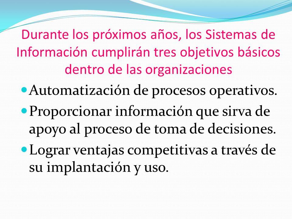 Durante los próximos años, los Sistemas de Información cumplirán tres objetivos básicos dentro de las organizaciones Automatización de procesos operativos.