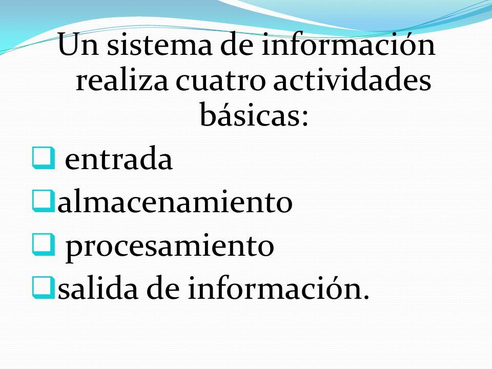 Un sistema de información realiza cuatro actividades básicas: entrada almacenamiento procesamiento salida de información.