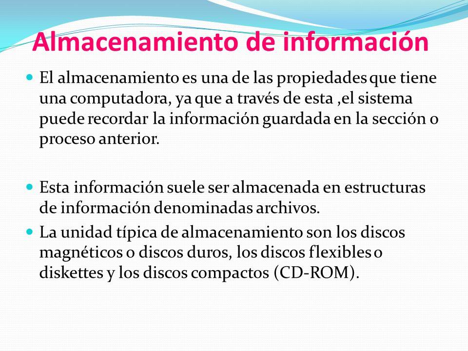 Almacenamiento de información El almacenamiento es una de las propiedades que tiene una computadora, ya que a través de esta,el sistema puede recordar la información guardada en la sección o proceso anterior.