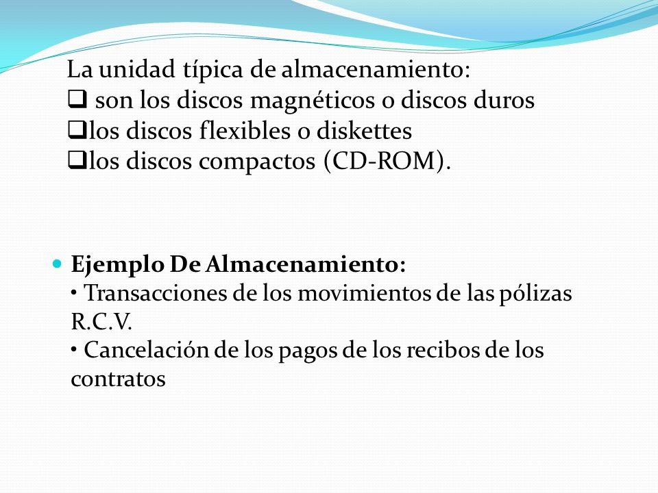 Ejemplo De Almacenamiento: Transacciones de los movimientos de las pólizas R.C.V.