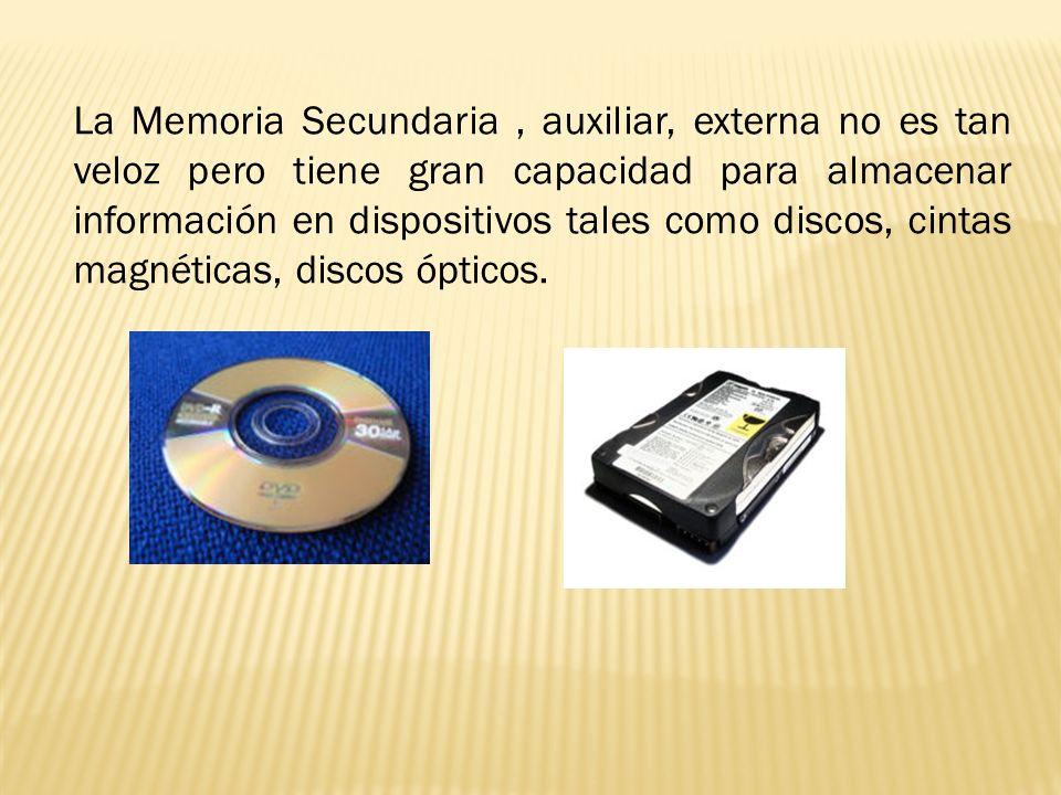 La Memoria Secundaria, auxiliar, externa no es tan veloz pero tiene gran capacidad para almacenar información en dispositivos tales como discos, cinta