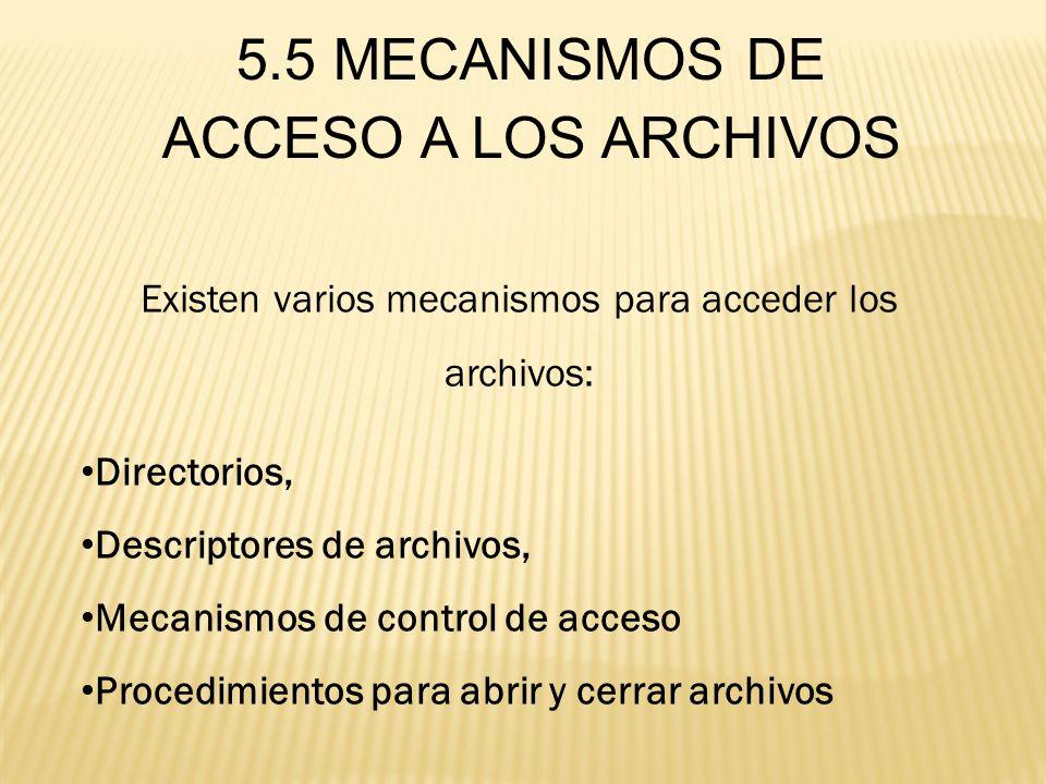 5.5 MECANISMOS DE ACCESO A LOS ARCHIVOS Existen varios mecanismos para acceder los archivos: Directorios, Descriptores de archivos, Mecanismos de cont