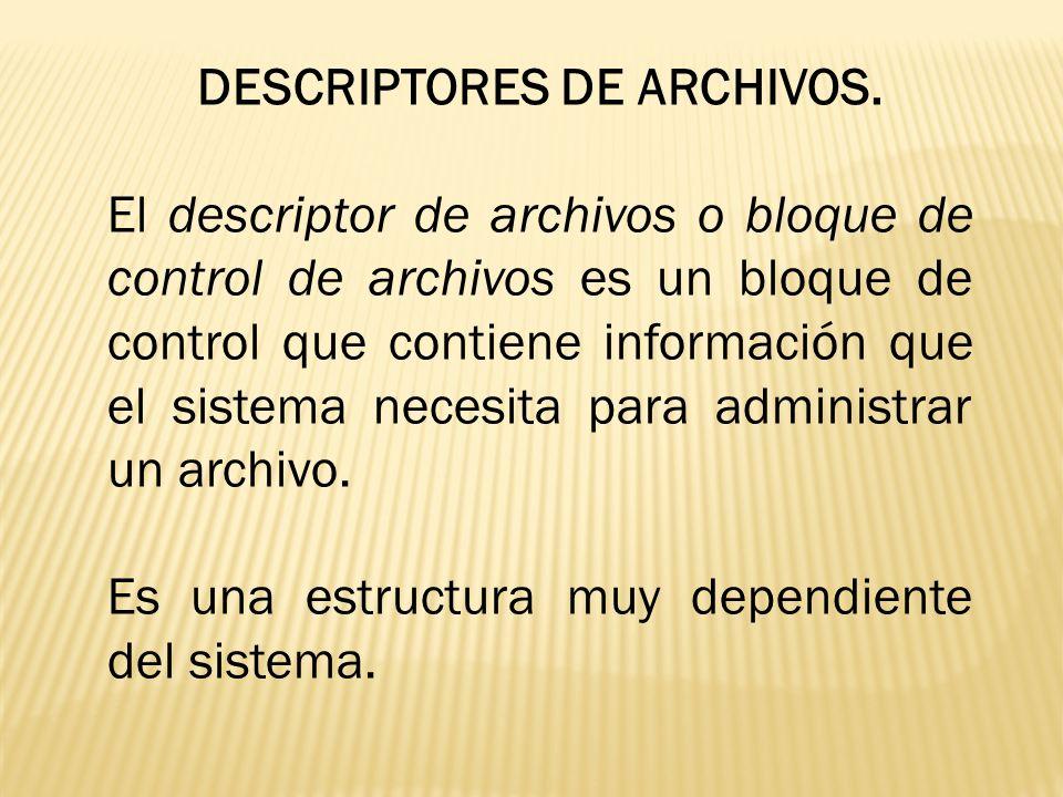 DESCRIPTORES DE ARCHIVOS. El descriptor de archivos o bloque de control de archivos es un bloque de control que contiene información que el sistema ne