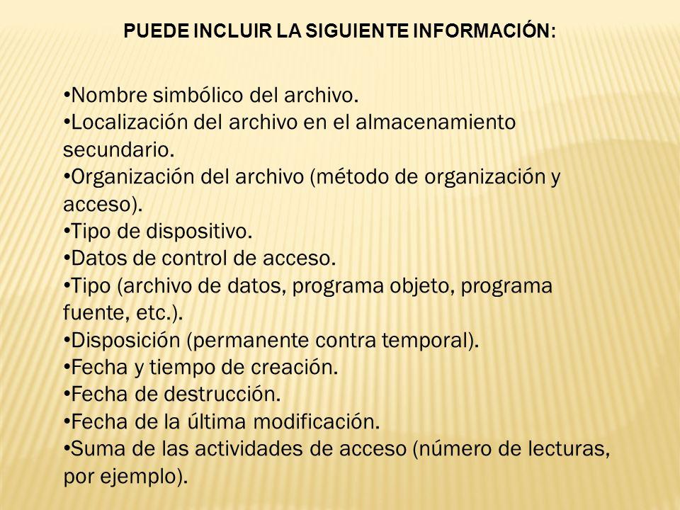 PUEDE INCLUIR LA SIGUIENTE INFORMACIÓN: Nombre simbólico del archivo. Localización del archivo en el almacenamiento secundario. Organización del archi