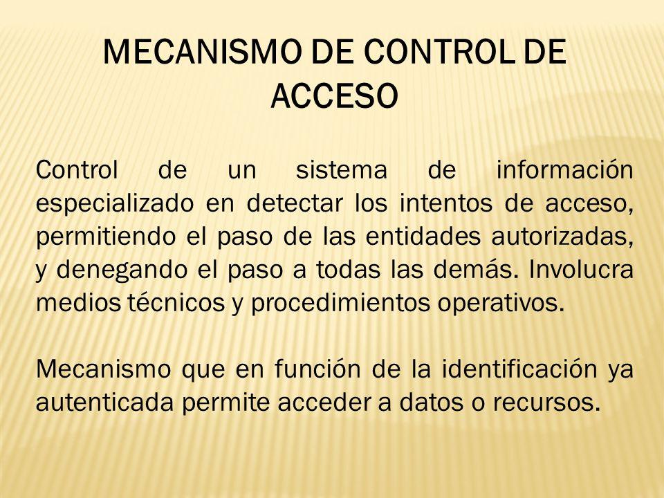 MECANISMO DE CONTROL DE ACCESO Control de un sistema de información especializado en detectar los intentos de acceso, permitiendo el paso de las entid
