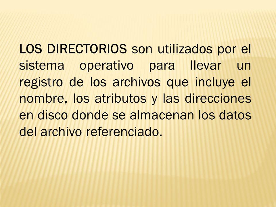 LOS DIRECTORIOS son utilizados por el sistema operativo para llevar un registro de los archivos que incluye el nombre, los atributos y las direcciones