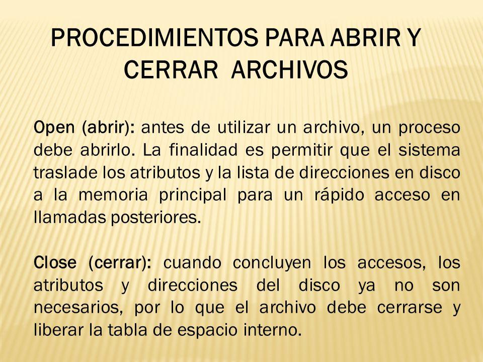Open (abrir): antes de utilizar un archivo, un proceso debe abrirlo. La finalidad es permitir que el sistema traslade los atributos y la lista de dire