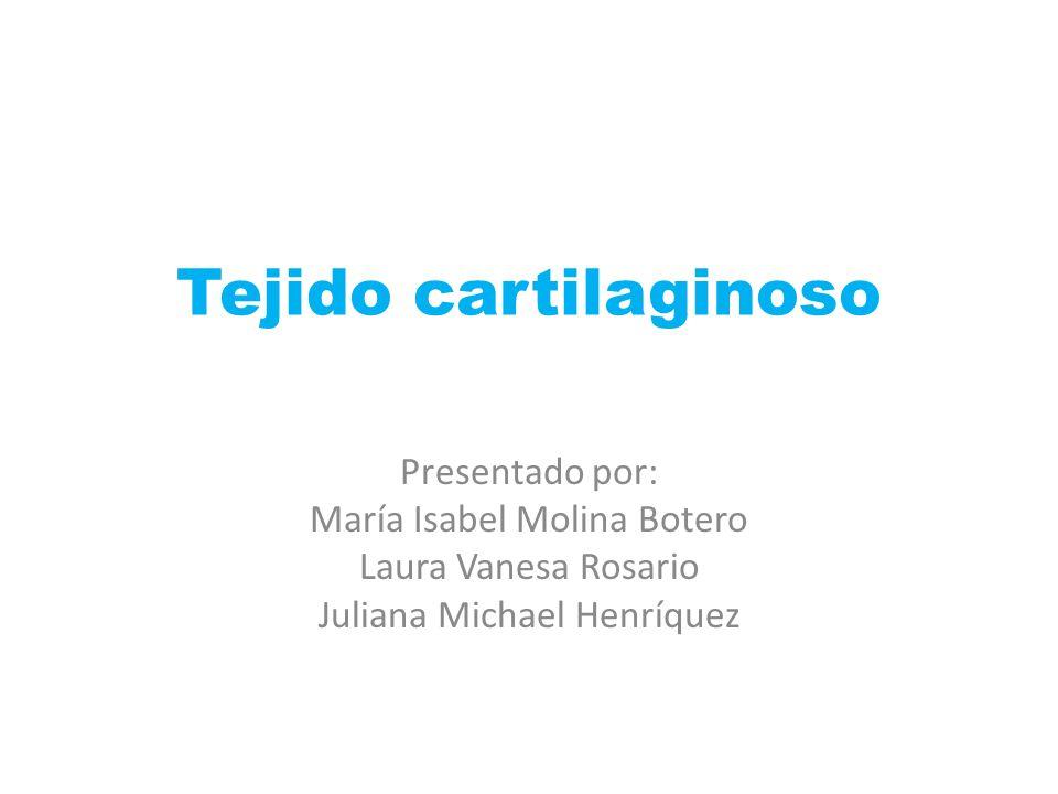 Tejido cartilaginoso Presentado por: María Isabel Molina Botero Laura Vanesa Rosario Juliana Michael Henríquez