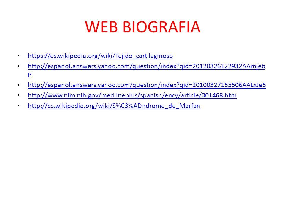 WEB BIOGRAFIA https://es.wikipedia.org/wiki/Tejido_cartilaginoso http://espanol.answers.yahoo.com/question/index?qid=20120326122932AAmjeb P http://esp