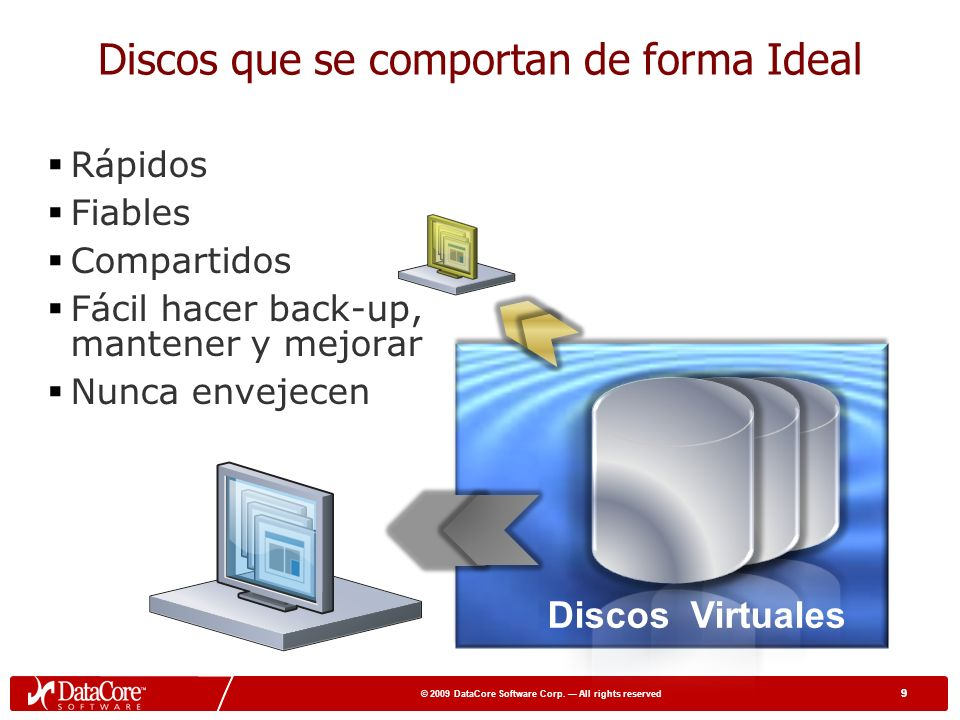 49 © 2009 DataCore Software Corp.All rights reserved 49 Datacore Puede ayudarle cuando..