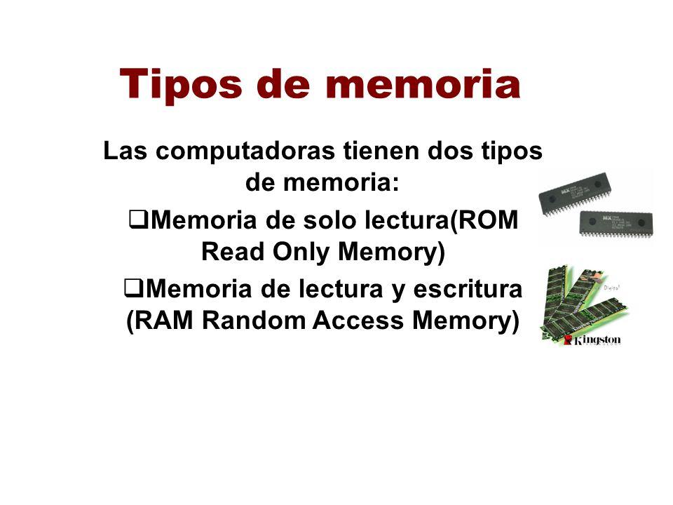 Tipos de memoria Las computadoras tienen dos tipos de memoria: Memoria de solo lectura(ROM Read Only Memory) Memoria de lectura y escritura (RAM Rando