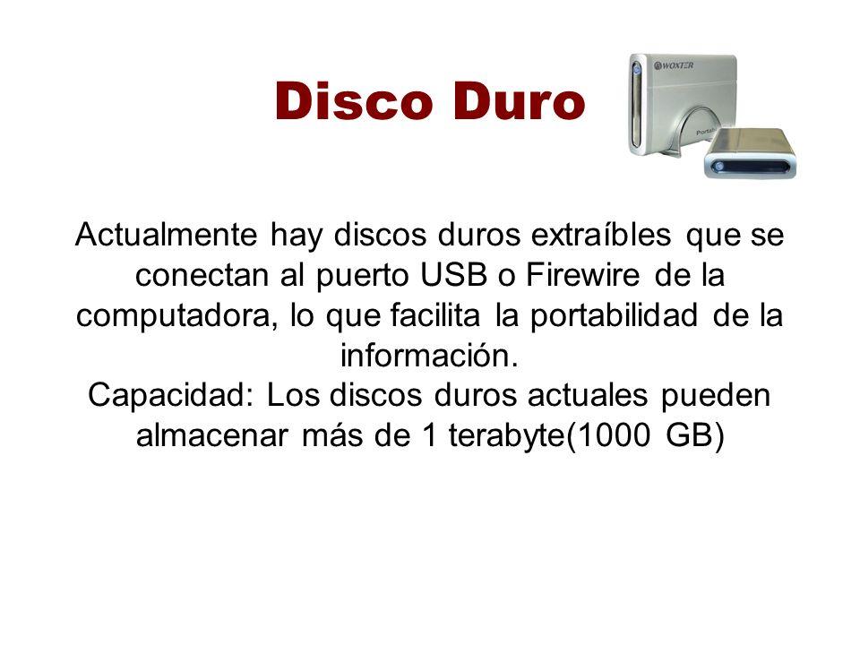 Disco Duro Actualmente hay discos duros extraíbles que se conectan al puerto USB o Firewire de la computadora, lo que facilita la portabilidad de la i