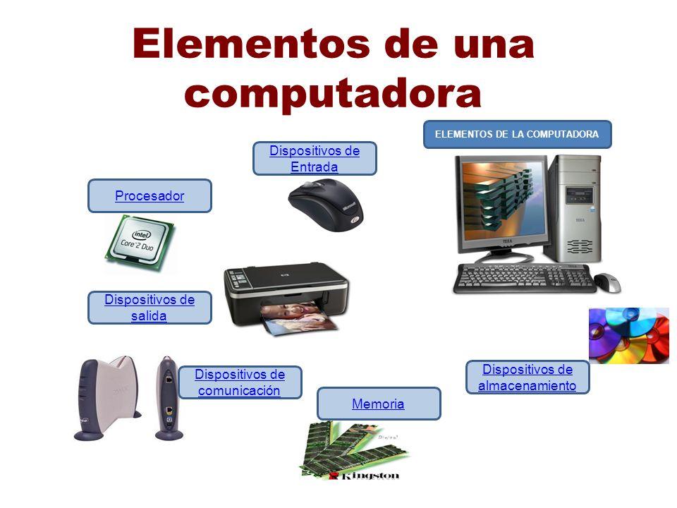 Elementos de una computadora ELEMENTOS DE LA COMPUTADORA Dispositivos de Entrada Procesador Dispositivos de salida Dispositivos de comunicación Memori