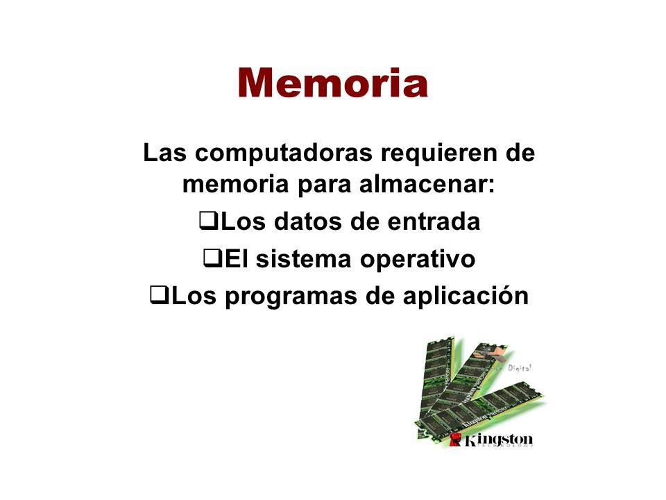 Memoria Las computadoras requieren de memoria para almacenar: Los datos de entrada El sistema operativo Los programas de aplicación